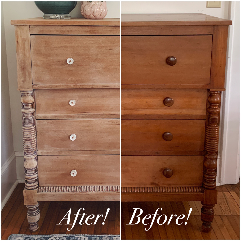 Dresser Makeover Whitewashed Weathered Look Furniture Makeover