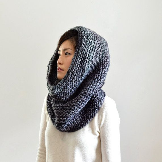Chunky Knit Scarf, Merino Wool Cowl, Infinity Scarf, Clothing Gift ...