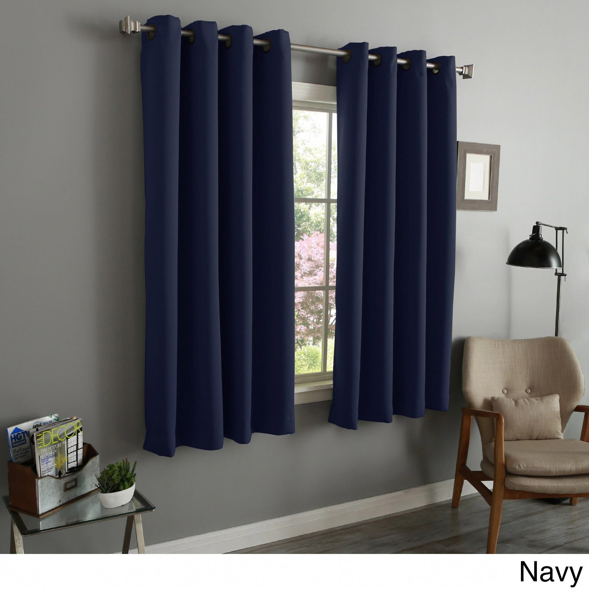 Aurora Home 54 Inch Thermal Insulated Blackout Grommet Top Curtain Panel Pair 52
