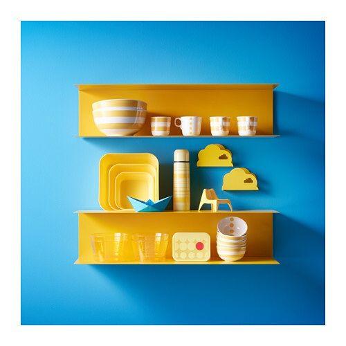 ikea kitchen BOTKYRKA wall shelf in yellow against white kitchen ...