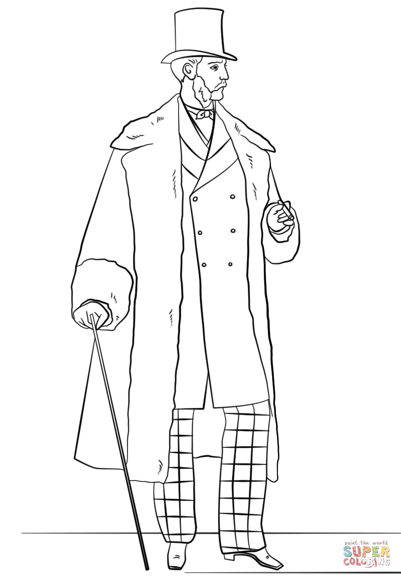 Victorian Men\'s Fashion coloring page | Free Printable Coloring ...