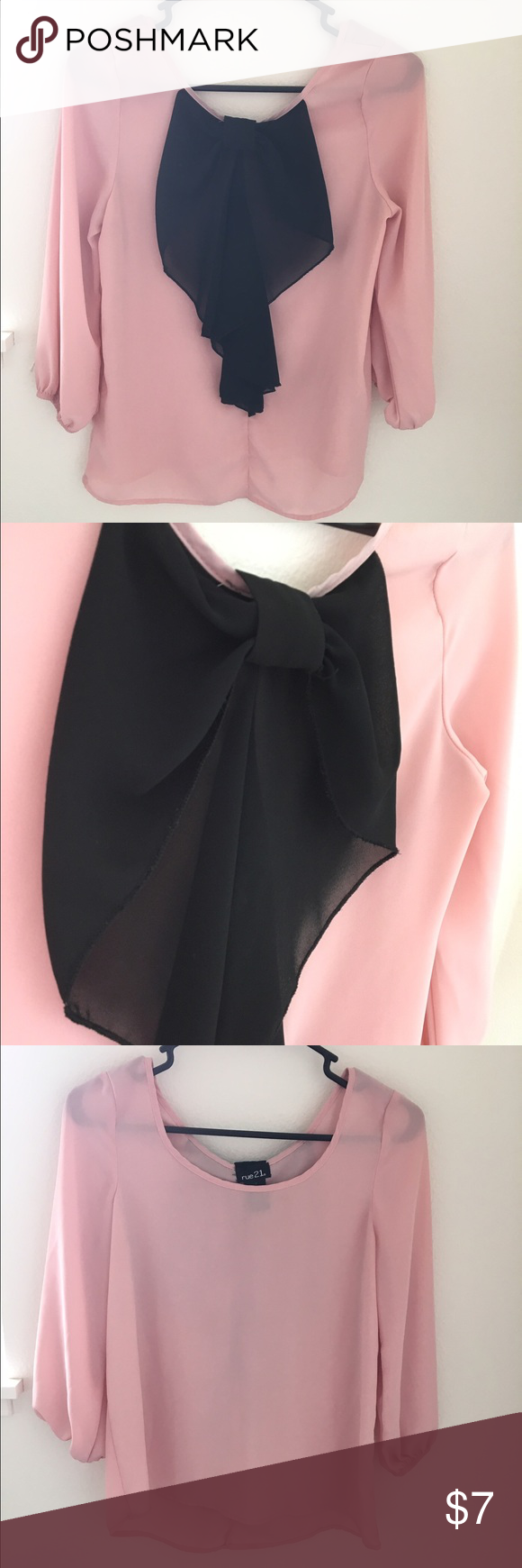 Black Bow Sheer Top  Adorable sheer top with a cute bow on the back! 10% off when  you bundle 2 items or more! Rue 21 Tops Blouses