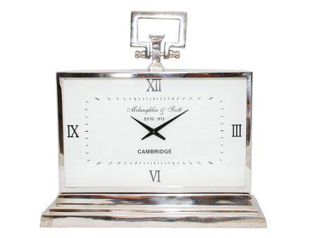 Latham Silver Metal Rectangular Standing Clock Medium