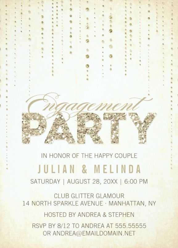 Classic Engagement Invitation Card - Golden Glitter - Order Now