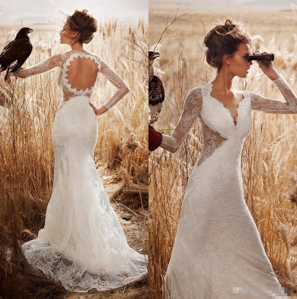 2016 Country Spring Mermaid Lace Wedding Dress Sheer Long Sleeves Sexy Backless Deep V Neck Floor Long Bridal Wedding Gown Vestido De Noiva Mermaid Wedding Dresses With Sleeves Modest Bridal Gowns From Whiteone, $143.13| Dhgate.Com