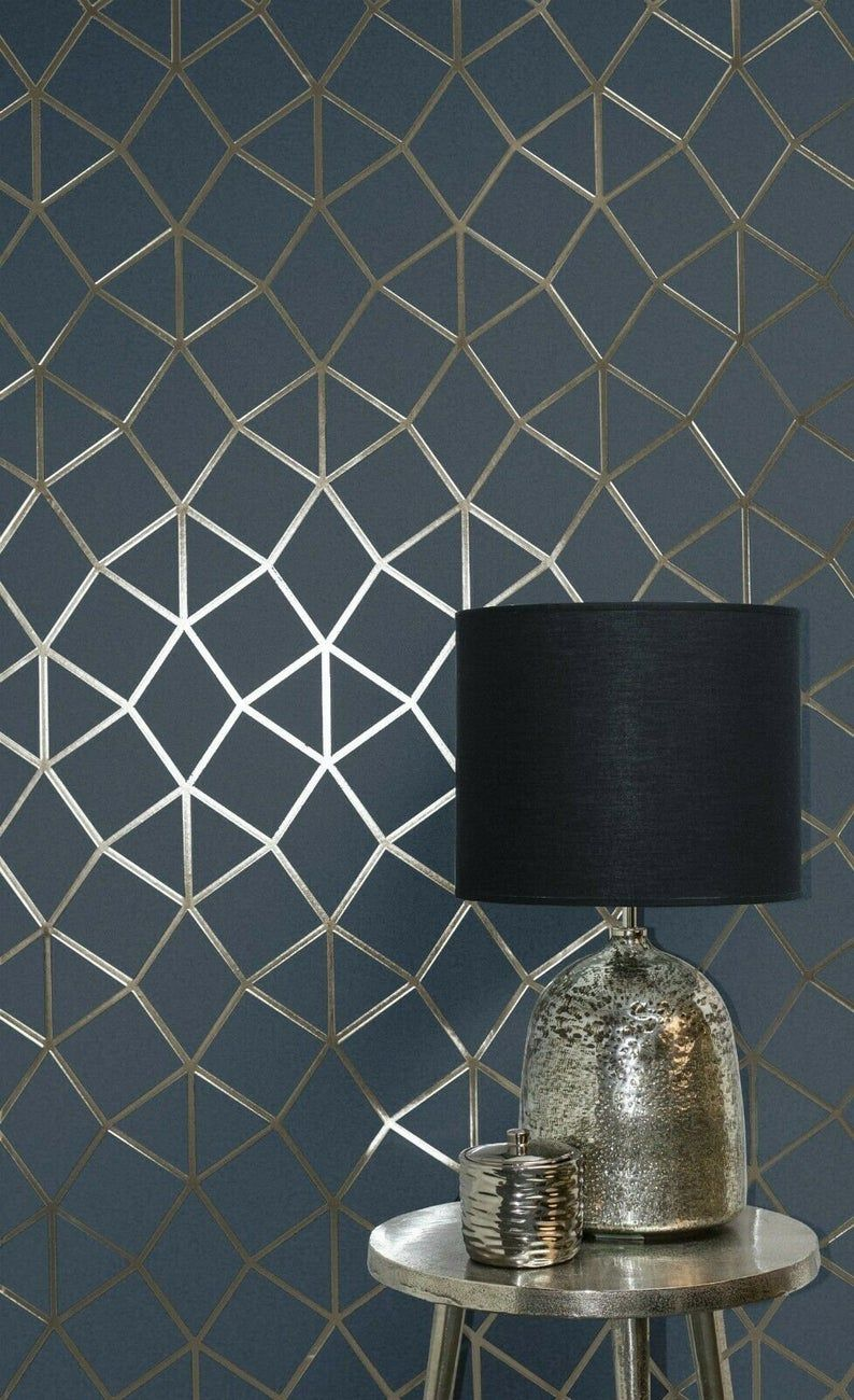 Geometric trellis triangles lines wallpaper navy blue gold