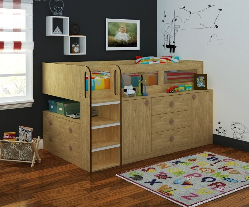 cosmos cabin bed in oak | mid sleeper bed with storage and shelves