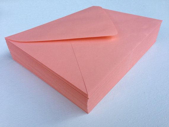 50 coral a7 invitation or a1 4bar rsvp pointed flap envelopes