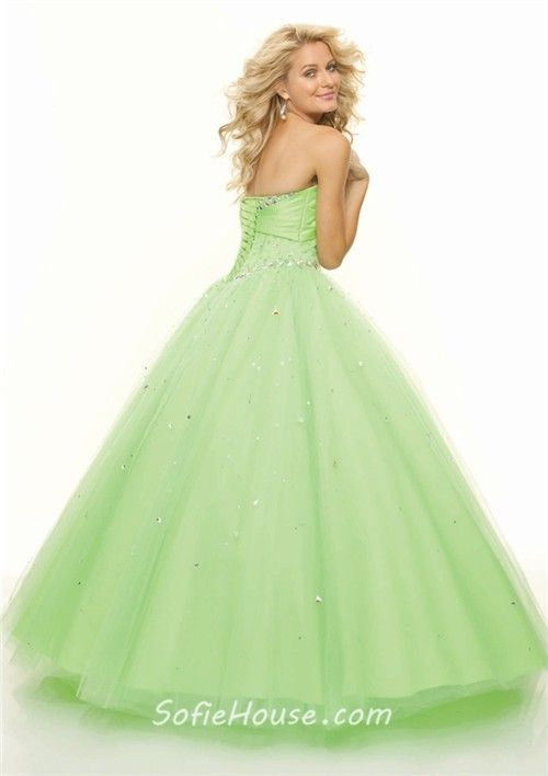 pastel blue pink green gowns | Home » Ball Gown sweetheart floor ...