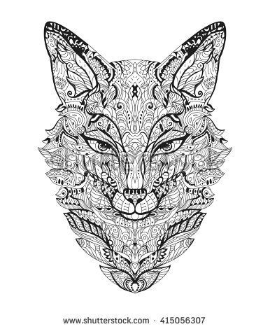 Zen art fox zentangle fox head for the adult antistress coloring book on white background