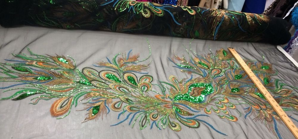 Emerald Green Peacock Feathers On A Black Mesh Embroider Lace,45x50 Inches.