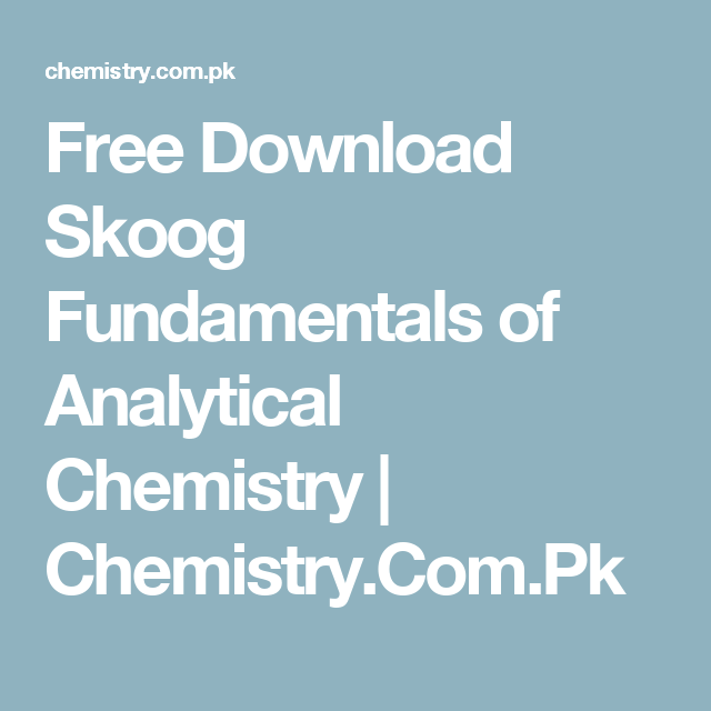 Pdf analytical chemistry books
