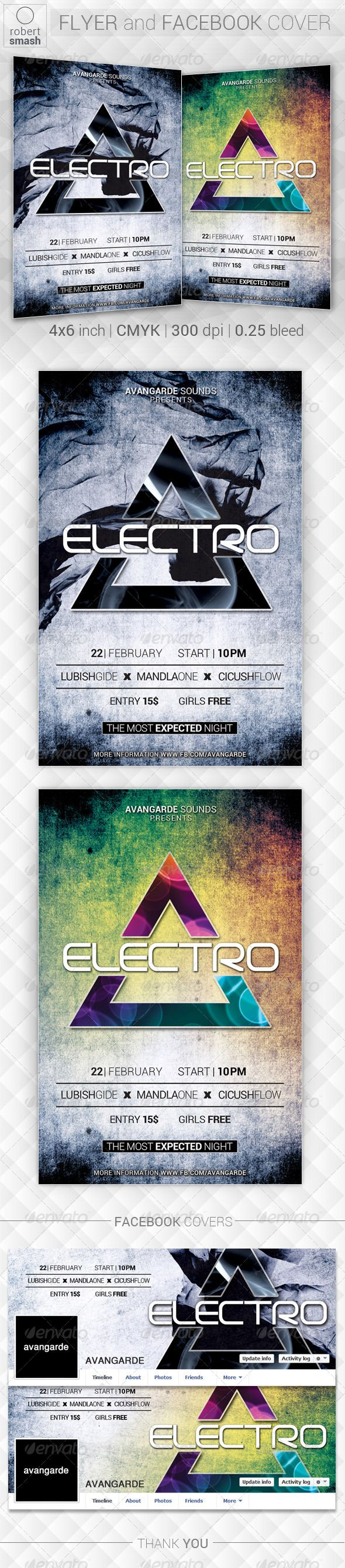 Modern Electro Flyer  Electro Music Flyer Template And Party Poster