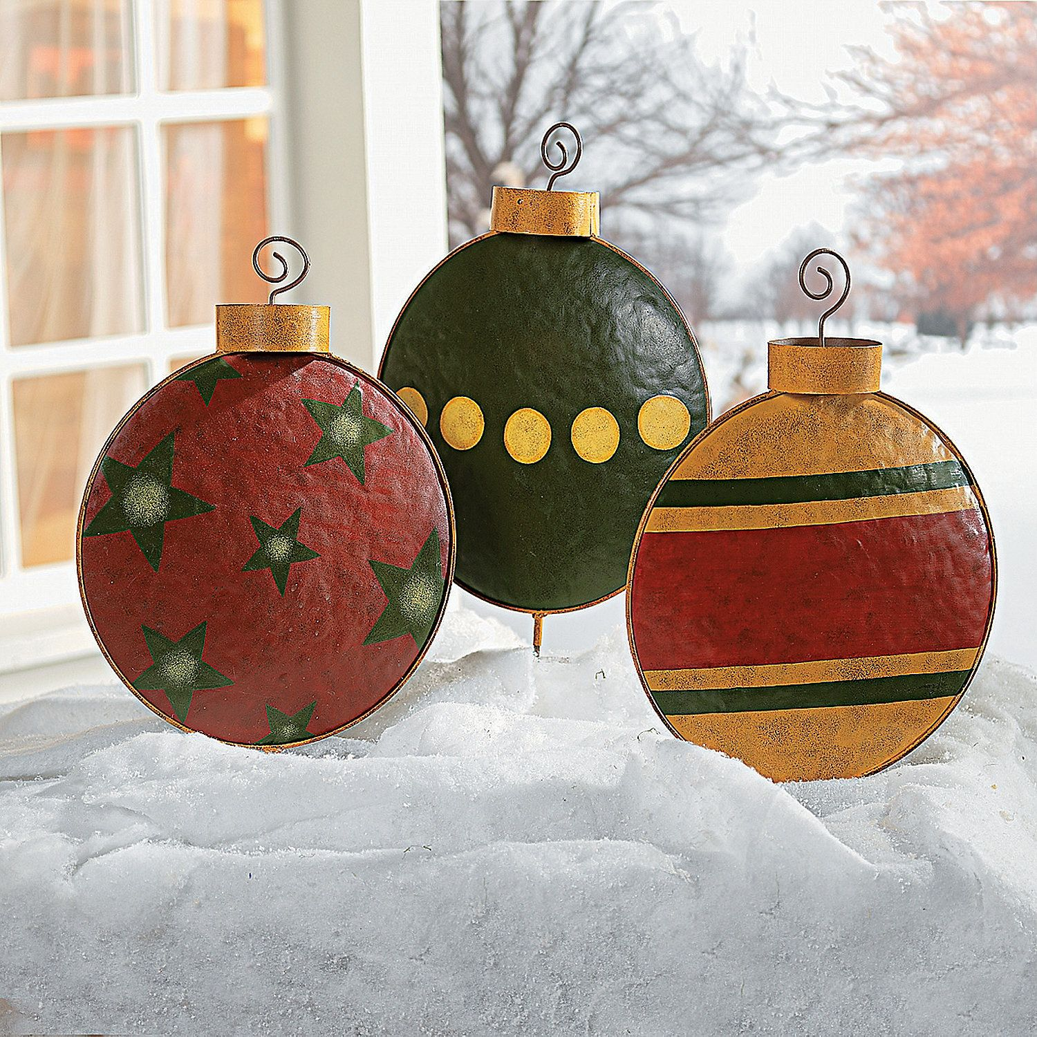 Ornament Yard Stakes | Large christmas ornaments, Outdoor ...