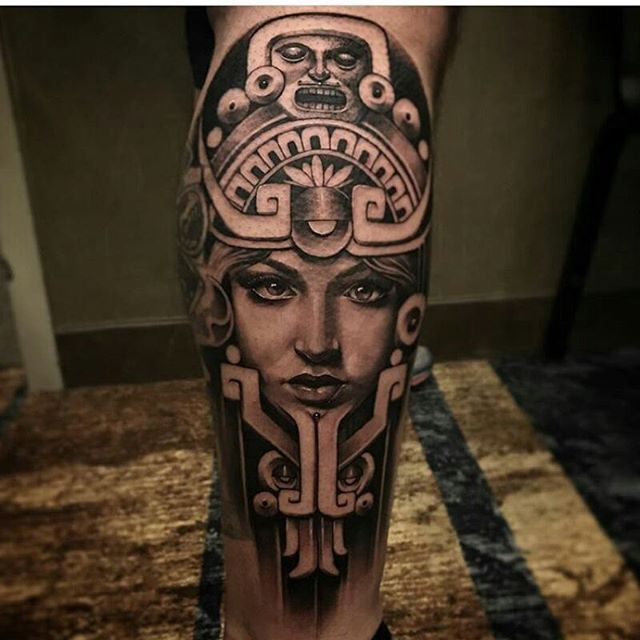 Aztec Tattoo By K12tattoos Mexicanstyle Tattoos Mexstyletats