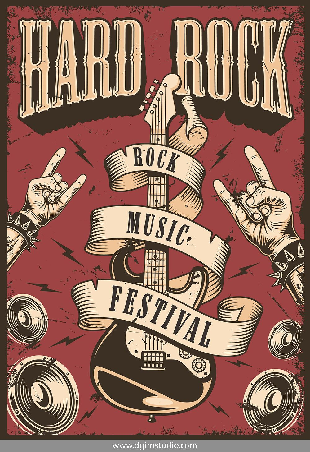 Rock Roll Designs Bundle Poster Vintage Retro Music Festival Poster Rock Band Posters