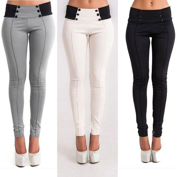 Fashion Ladies Womens Stretch Skinny Button Leggings Pencil