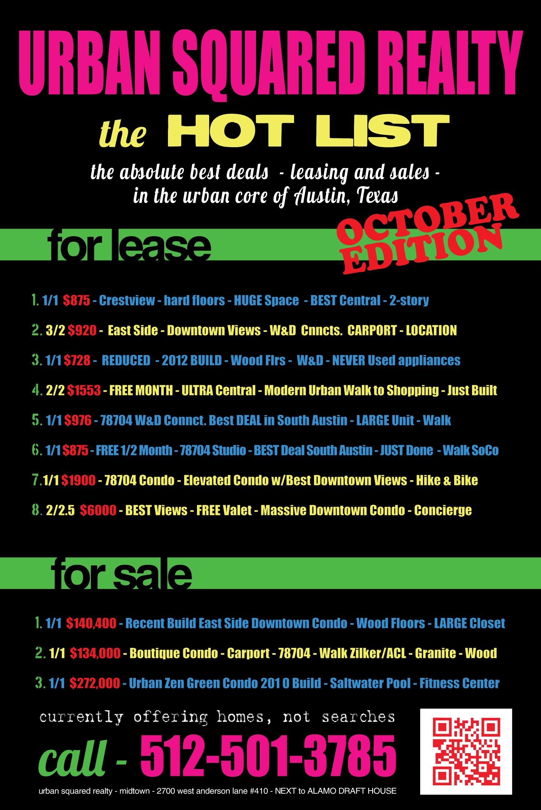 Hot deals SoCo, 78704, Downtown Austin, Allandale, East Austin, Apartments and Condos!
