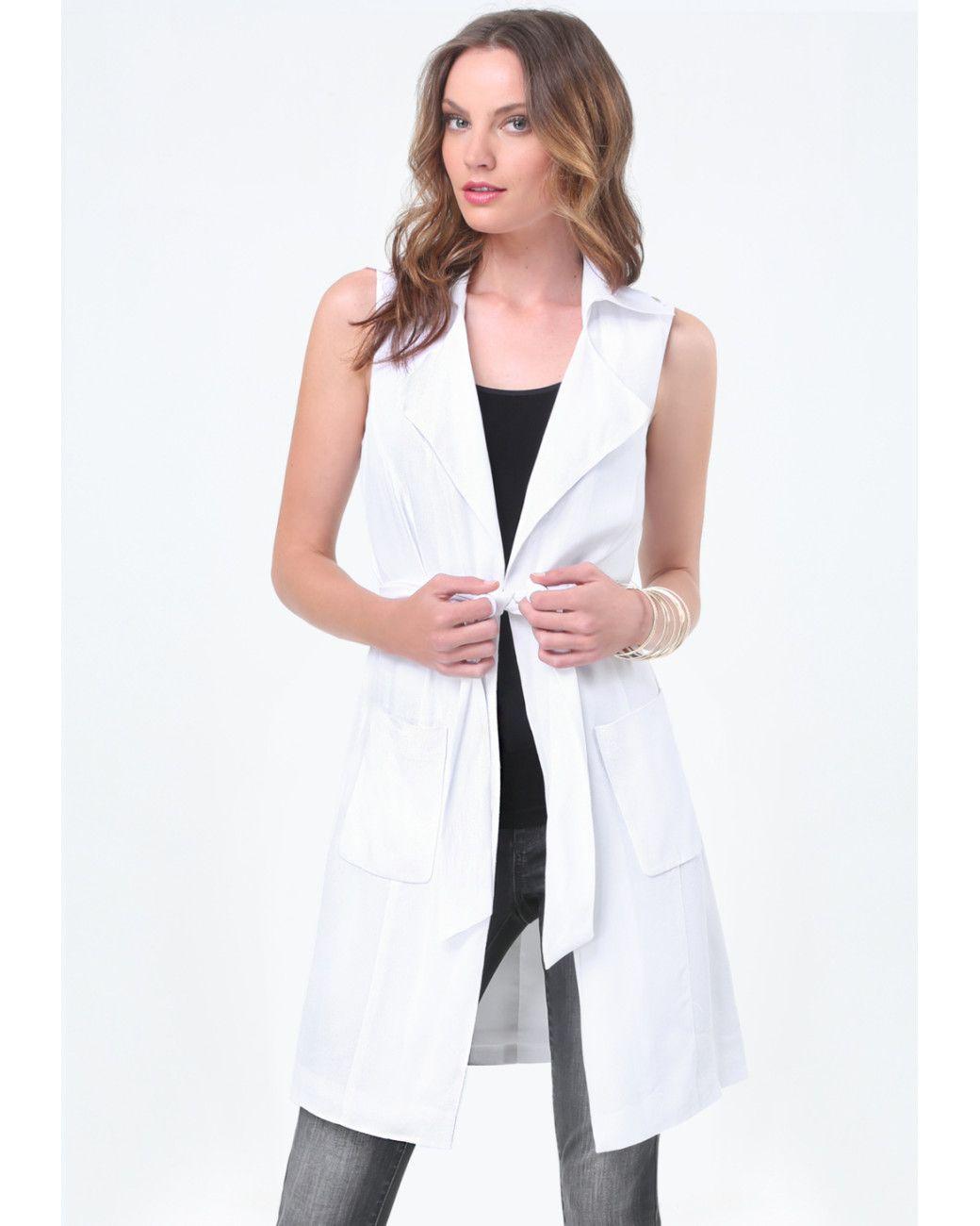 4811e5606a Bebe   White Tie Wrap Trench Coat   Lyst