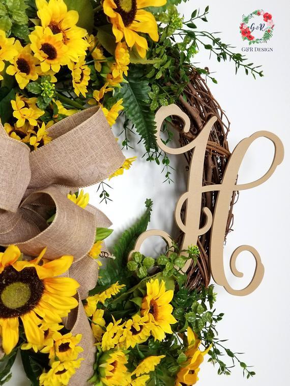 """Spring Summer Sunflower Door wreath 24/"""" yellow"""