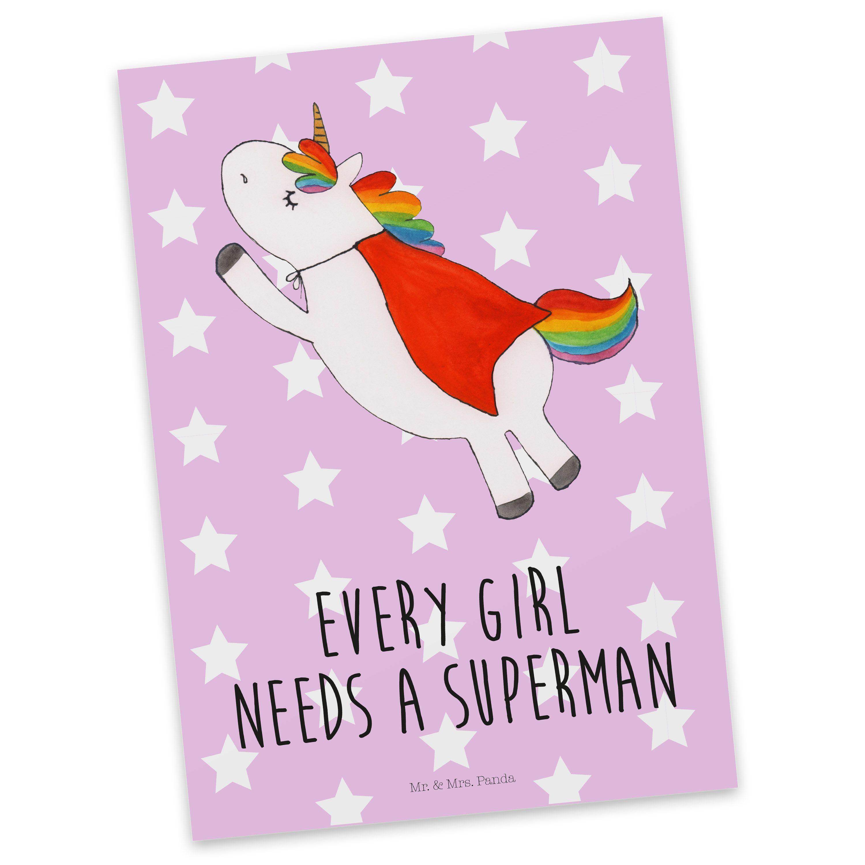 Postkarte Einhorn Superman aus Karton 300 Gramm weiß Das Original von Mr & Mrs
