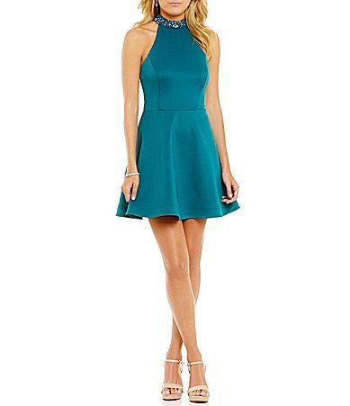 Teeze Me Beaded Mock Neck ALine Dress #Dillards