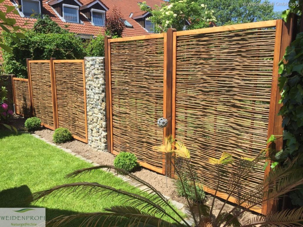 Weidenzaun Sichtschutz Zaun Aus Weide Holzrahmen