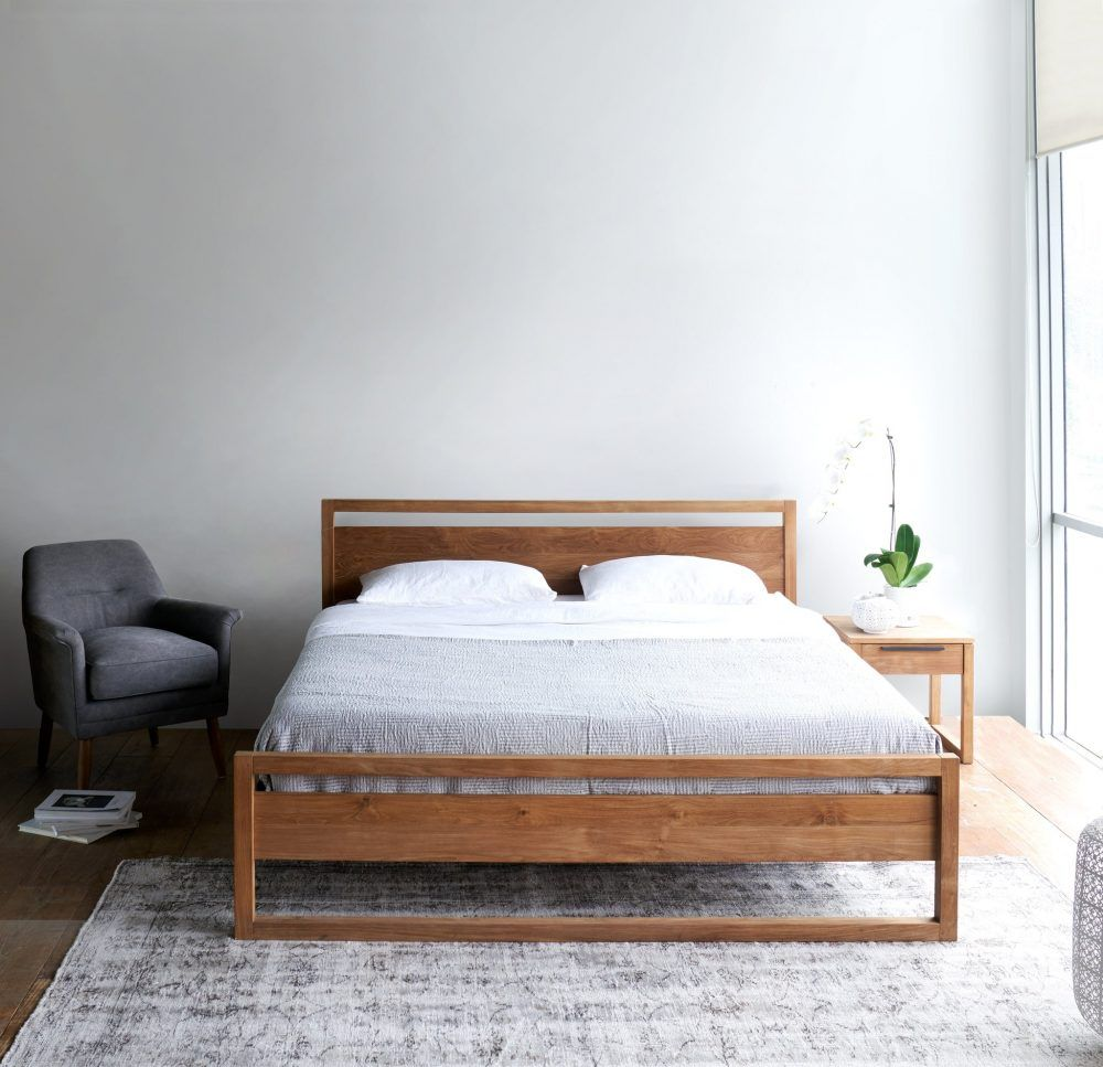 Farmhouse King Bed knotty alder and grey stain Do It