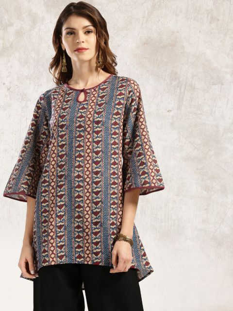 Buy Anouk Blue & Maroon Printed A Line Kurti - Kurtis for Women 1705299 | Myntra