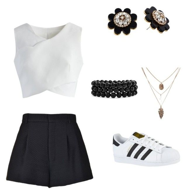 """Black and White Take over"" by kimezo on Polyvore featuring RED Valentino, adidas, Chicwish, Kate Spade and Bling Jewelry"