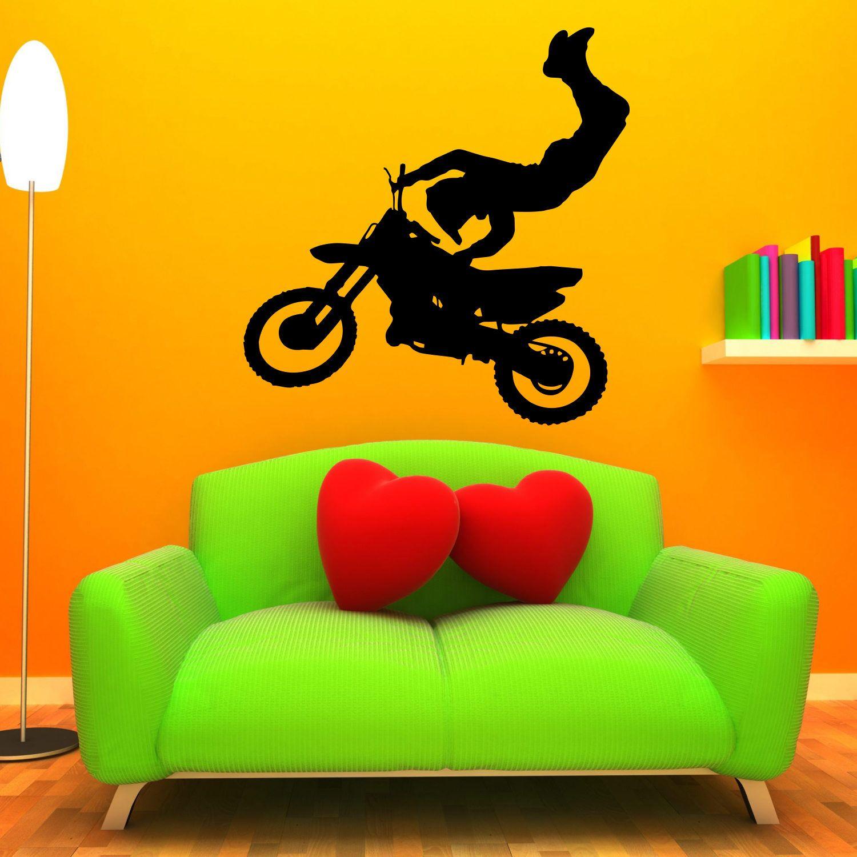 Motocross Decal LARGE Wall Mural Sticker Kids Room Boys Bedroom