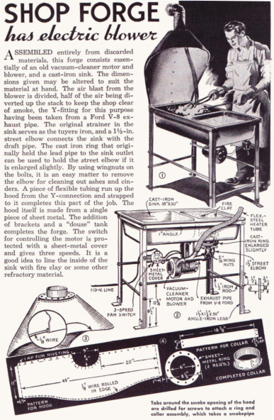 Popular Mechanics 1941 guide to assembling a forge out of ...