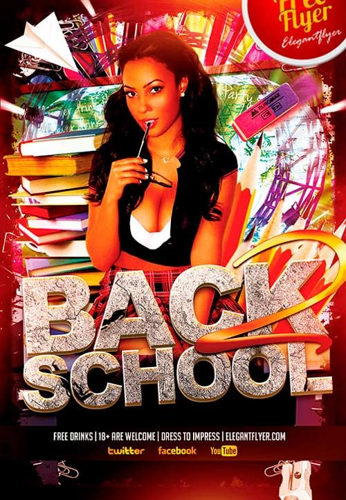 Free Back To School Party Psd Flyer Template  HttpFreepsdflyer