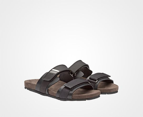 Prada greek slide sandals in suede, leather, and rubber