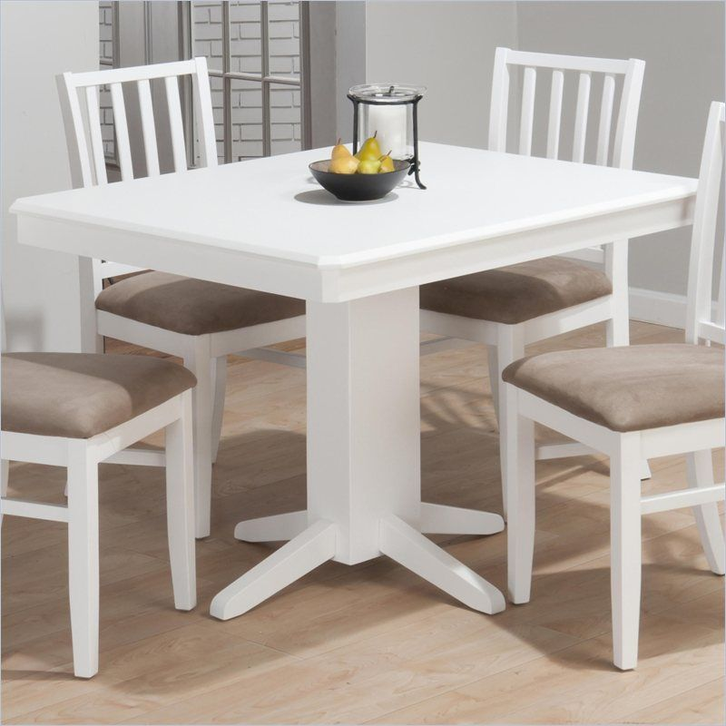 Jofran Aspen Rectangular Fixed Top Pedestal Dining Table In White