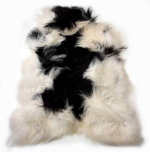 100% Icelandic Sheepskin Single Long Haired Spotted