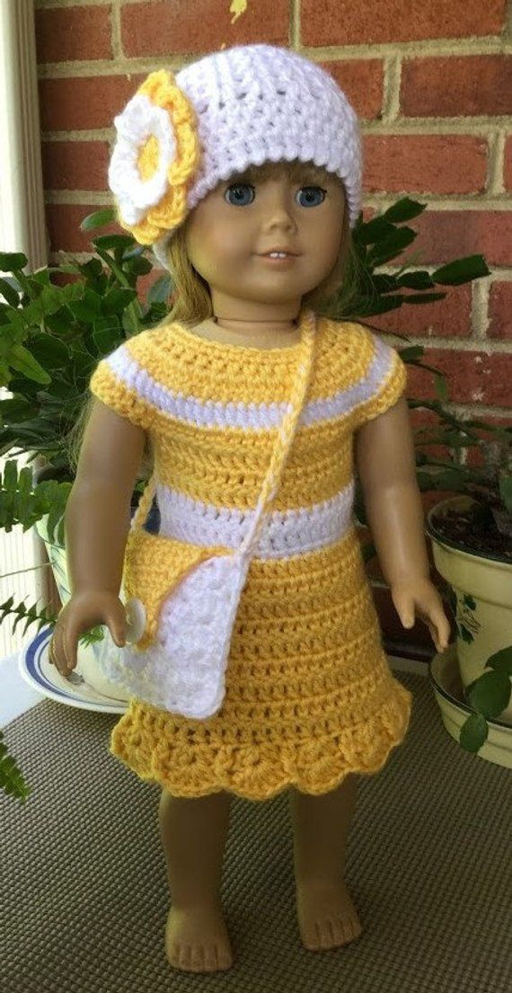 18 Doll dress with hat and purse, Handmade crochet dress hat purse set in yellow and white, Gift for girl
