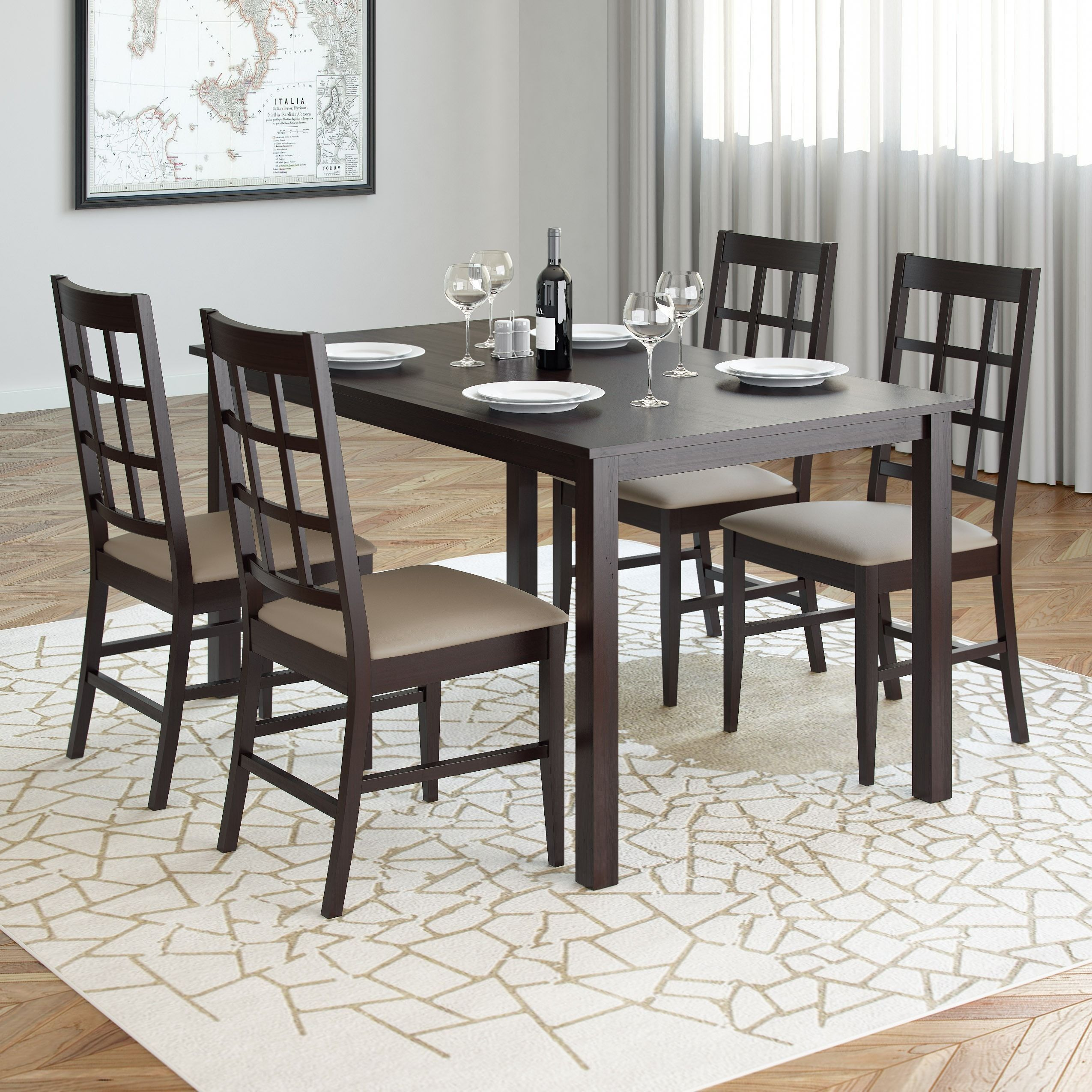 CorLiving DRG 795 Z6 Atwood 5 Piece Dining Set With Taupe Stone Leatherette