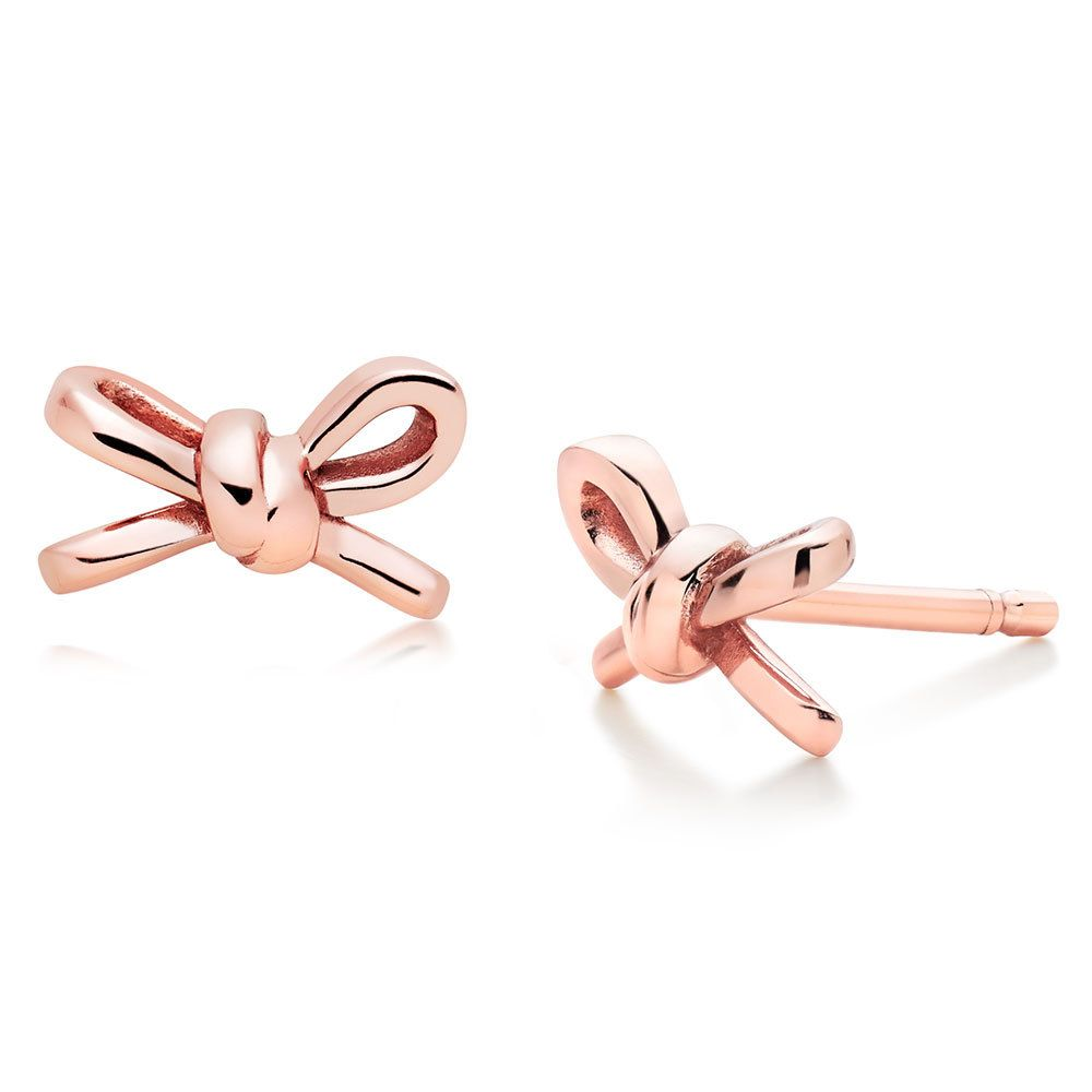 Beaverbrooks Silver Rose Gold Plated Bow Earrings Rosequartz