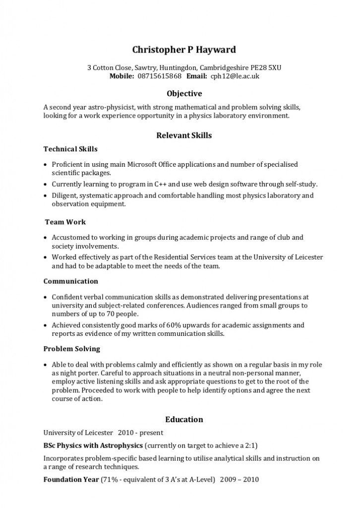 Image result for skill based resume examples Business - night porter sample resume