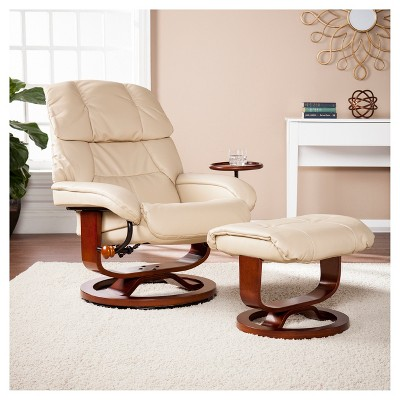 Astonishing Bonded Leather Recliner And Ottoman Taupe Aiden Lane Dailytribune Chair Design For Home Dailytribuneorg