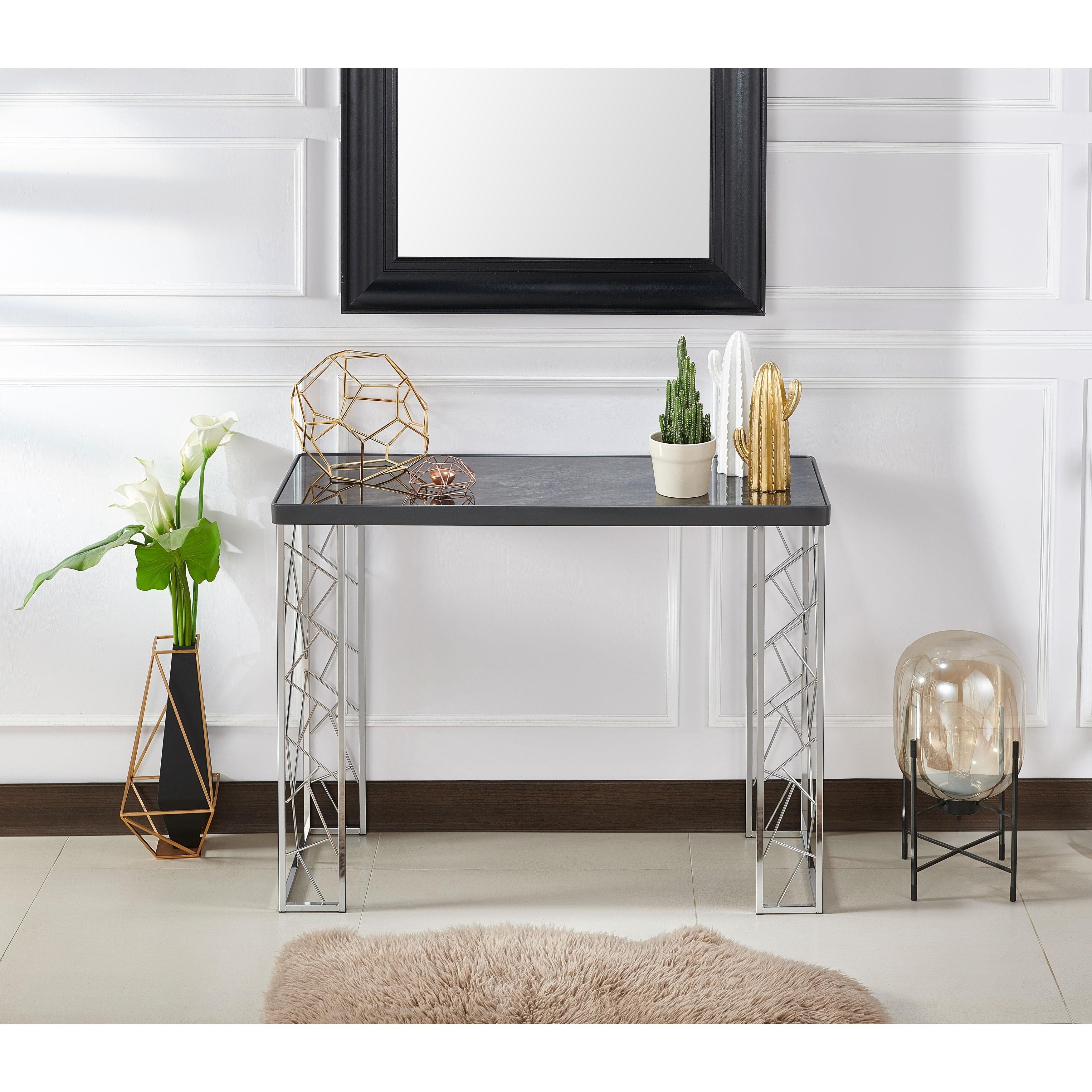Furniture Of America Noirel Black Chrome Glass Metal Modern Sofa
