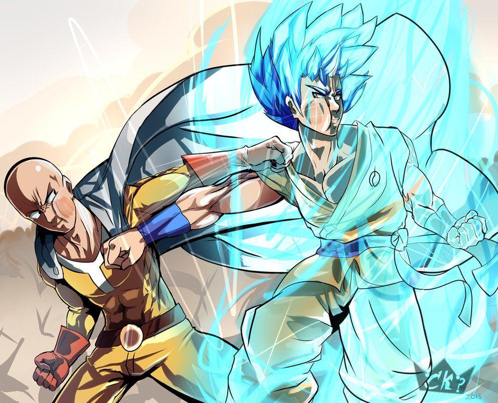 Goku Vs Saitama By Chrono King On Deviantart One Punch Man Anime Anime Crossover Goku Vs