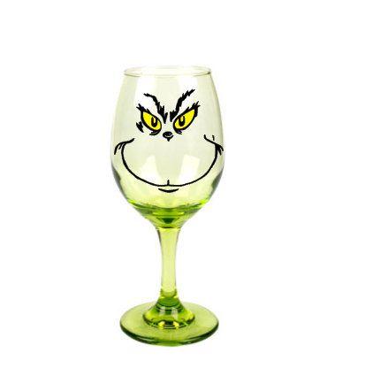 Set of 2 Grinch Green Hue Wine Glass// No Milk Here Grinch Wine Glass// Christmas
