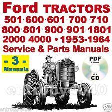 ford 501 600 601 700 701 800 801 900 901 1801 tractors service & parts  manuals