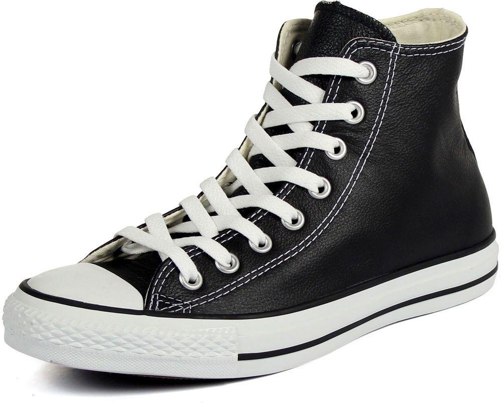 6a67b5130ff CONVERSE CT CHUCK TAYLOR ALL STAR LEATHER HI Mens 1S581 Black NEW  Converse   AthleticSneakers