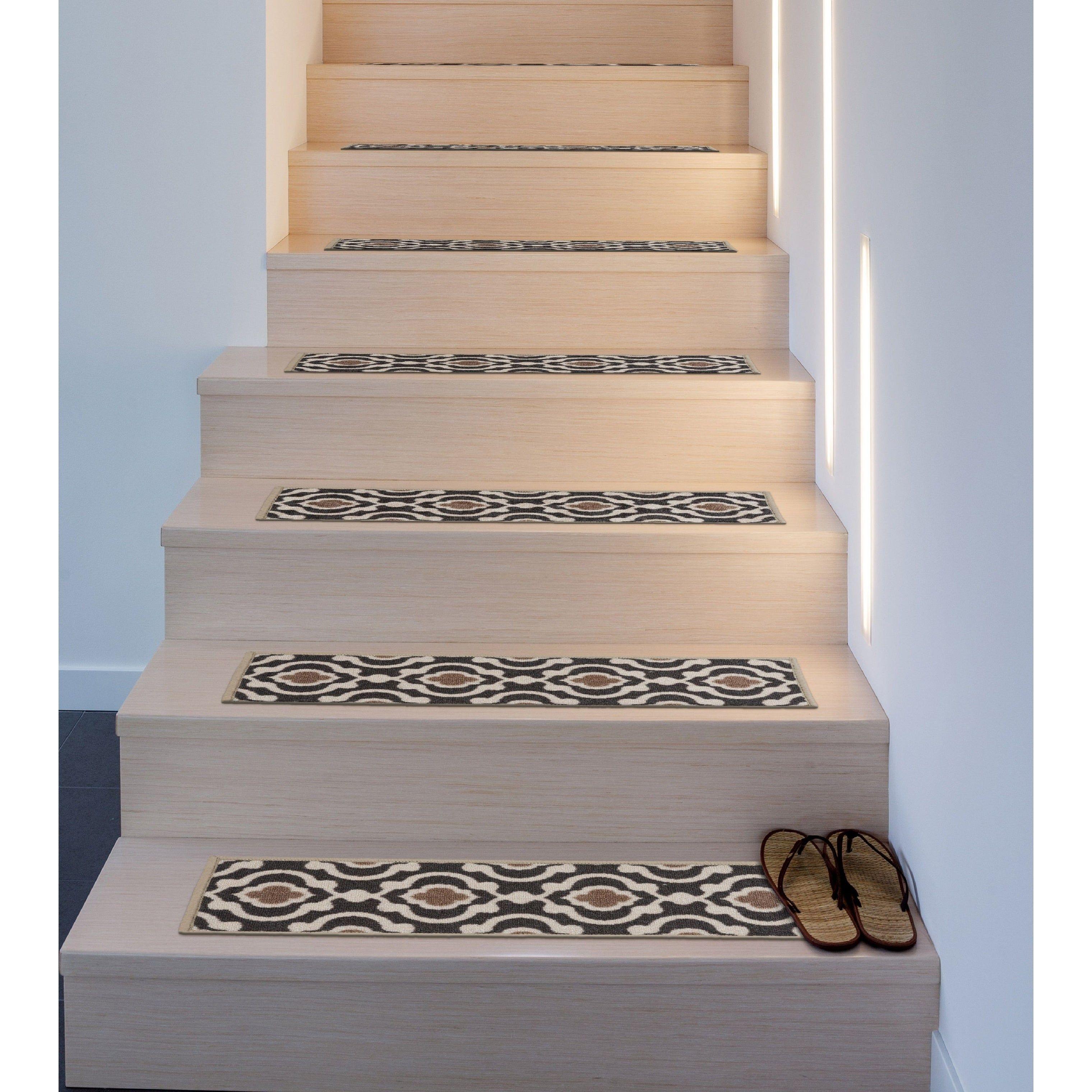 Modern Moroccan Trellis Non Slip Stair Treads 8 6 X 26 Set Of | Rug Stair Treads Non Slip | Bullnose Carpet | Gloria Rug | Slip Resistant | Tread Covers | Flooring