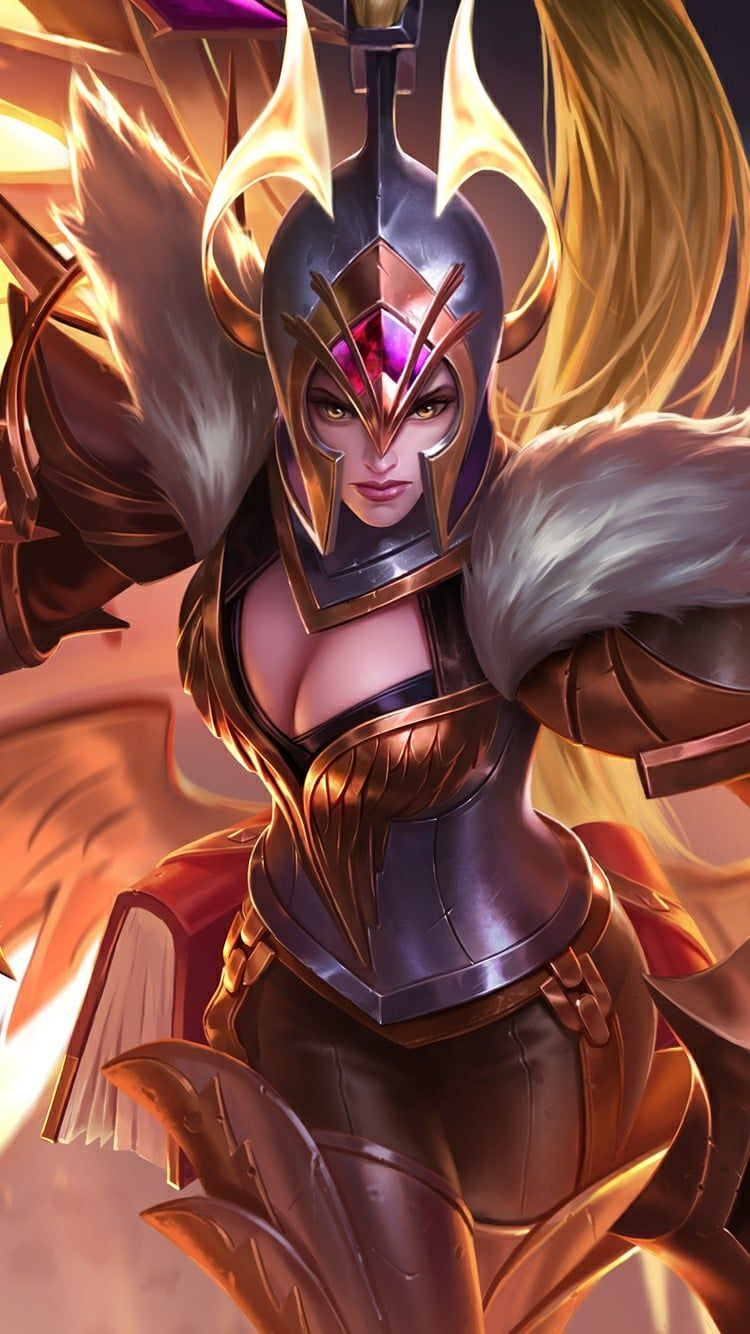 Wallpaper Mobile Legends Freya War Angel Mlbb Moba Pinterest