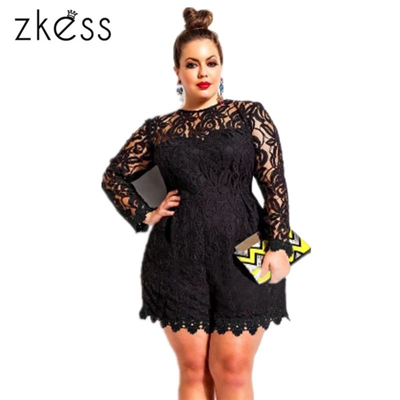 8f139d25e09 ZKESS Black Plus Long Sleeve Lace Romper Sexy Lacing Big Size Romper Shorts  Clubwear Autumn Full Sleeve Jumpsuit Overall LC60599