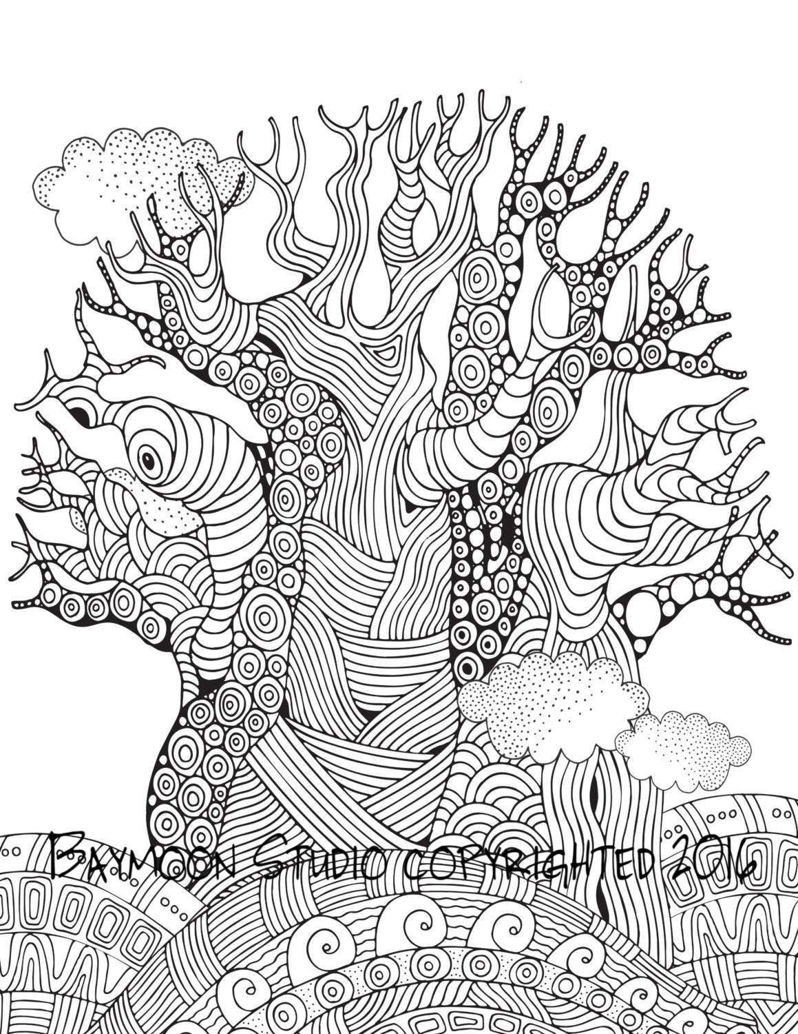 African Baobab Tree Coloring Page Printable By Baymoonstudio